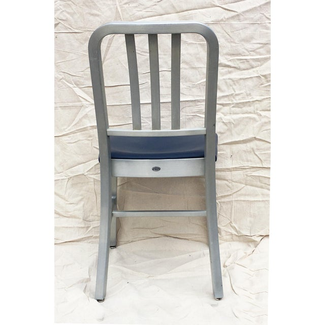 General Fireproofing Company Vintage GoodForm Aluminum Chairs With Navy Leather For Sale - Image 4 of 8