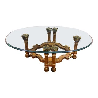 1970s Italian Regency Style Cocktail Table With Glass Top For Sale