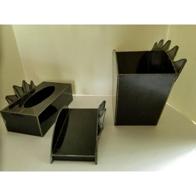 Black French Art Deco Towel Holder Waste Basket - Set 3 For Sale - Image 8 of 12
