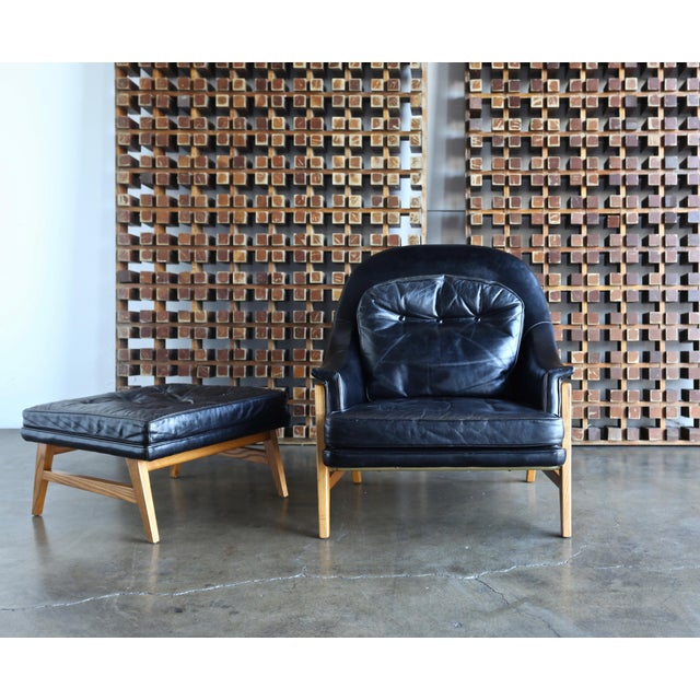 Dunbar Furniture Edward Wormley for Dunbar Leather Lounge Chair and Ottoman Circa 1957 For Sale - Image 4 of 13