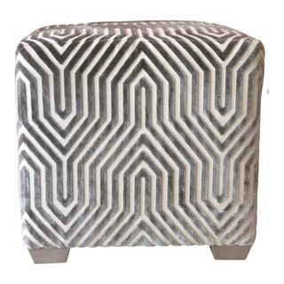 Vintage Transitional Upholstered Stool For Sale