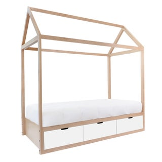 Domo Zen Twin Canopy Bed in Maple With White Finish Drawers Preview