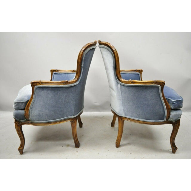 Vintage French Louis XV Provincial Blue Bergere Lounge Arm Chairs - a Pair For Sale - Image 12 of 13