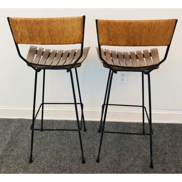 1960s Mid-Century Modern Arthur Umanoff Slat Bar Stools for Raymor- a Pair For Sale - Image 5 of 9