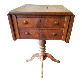 American Empire Mahogany Drop-Leaf Side Table For Sale