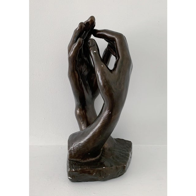 "Vintage Rodin ""The Cathedral"" Hands Sculpture Statue by Austin Productions, circa 1960s. In great condition."