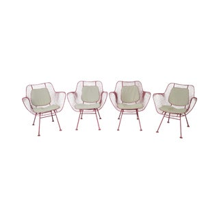 Russell Woodard Sculptura Mid Century Set of 4 Metal Patio Arm Chairs For Sale