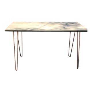 Industrial Sleek Wood and Copper Desk For Sale