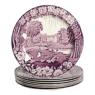 Wood & Sons Castles Purple Luncheon Plate - Set of 8 For Sale