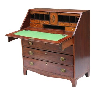English Mahogany Slant Front Desk For Sale