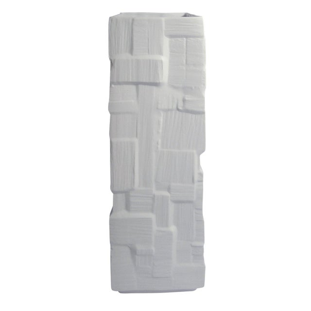 Mid-Century Modern Heinrich Square White Bisque Vase with Geometric Block Design For Sale - Image 3 of 6