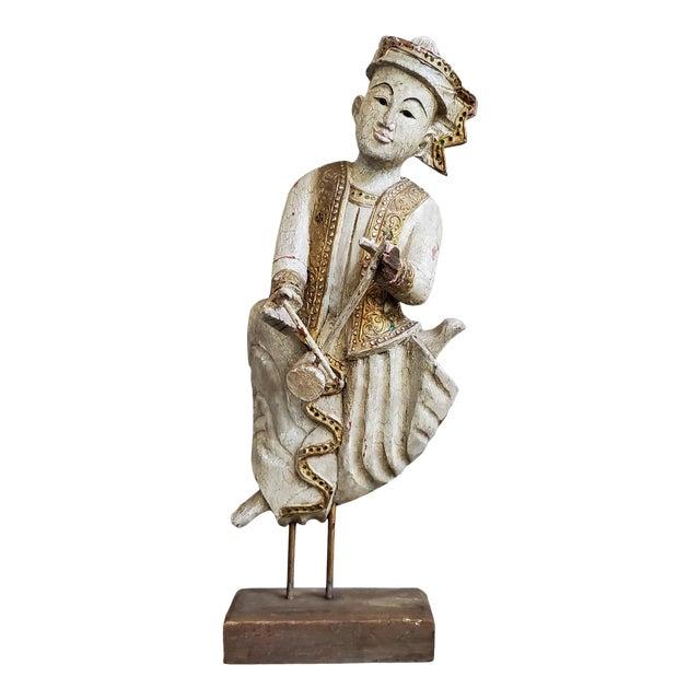 Vintage Thai Carved Wood Sculptural Statue For Sale
