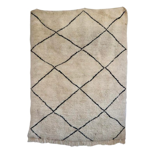 "Islamic Beni Ourian Wool Rug - 67"" X 94"" For Sale"