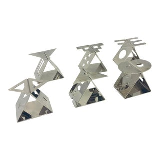 Memphis Style Stainless Steel Napkin Rings - Set of 6 For Sale