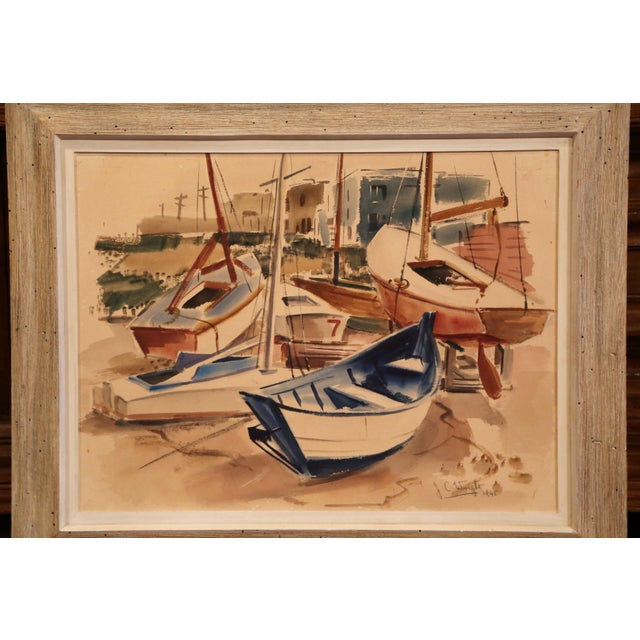 This mid-20th century painting was found in southern France; set in the original wooden frame with white wash finish, the...