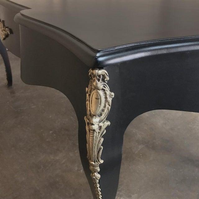 Bronze Antique French Louis XV Black Painted Desk ~ Bureau Plat With Bronze Mounts For Sale - Image 7 of 12