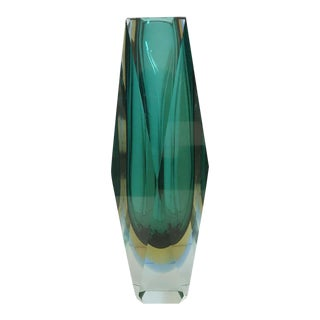 Green Sommerso Vase by Mandruzzato For Sale