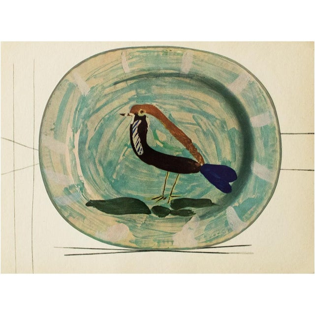 1950s 1955 Pablo Picasso Polychrome Bird Ceramic Plate, Original Period Swiss Lithograph For Sale - Image 5 of 6
