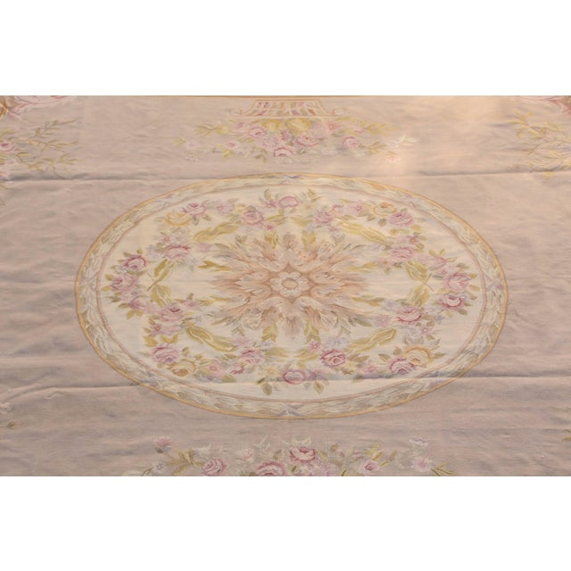 New, French Aubusson style rug, nice pastels Versailles colors style. Decorative floral motifs and achromatic botanical...