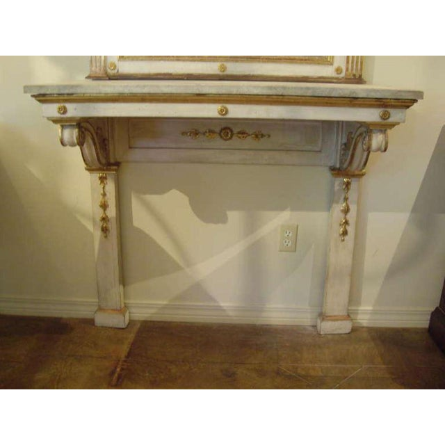 Very elegant Italian painted neoclassical style console and mirror.