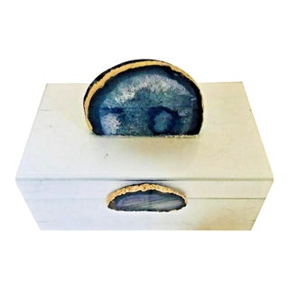 Faux Marble Box Blue Agate Box For Sale