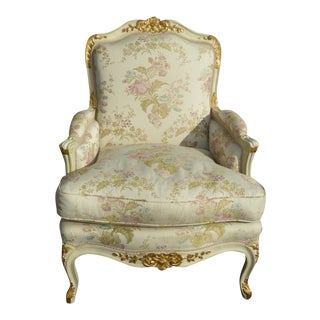 Vintage French Louis XVI Rococo White Bergere Accent Chair W Down Feather Cushion For Sale