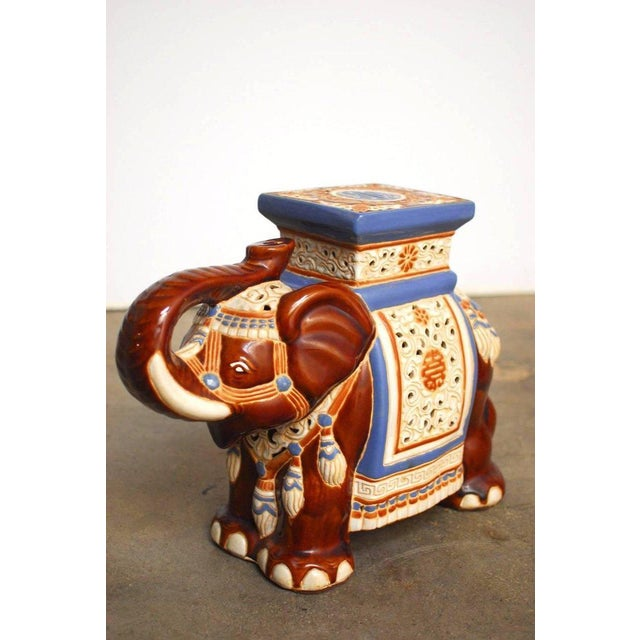 Ceramic Elephant Garden Stools or Drink Tables - A Pair - Image 6 of 11