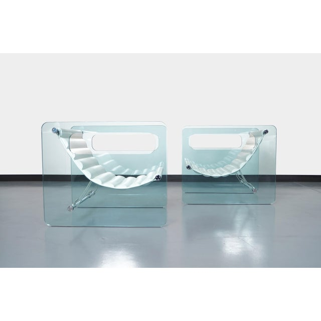 """Exceptional """"Naked"""" glass lounge chairs designed by Giovanni Tommaso Garattoni for Tonelli in Italy. These spectacular..."""