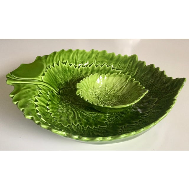 Italian Green Majolica Leaf Bowls-A Pair For Sale - Image 11 of 13