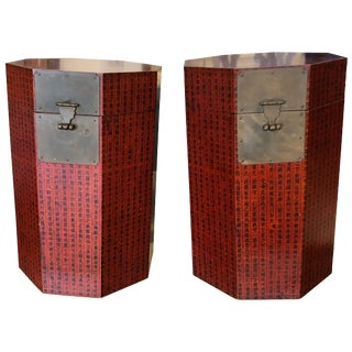 Chinese Octagon Red Calligraphy Trunks or Side Tables - a Pair For Sale