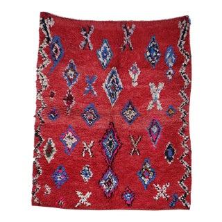 "AZILAL Vintage Moroccan Rug, 3'7"" x 4'3"" feet"