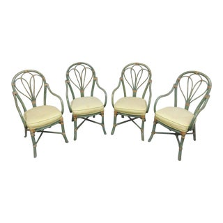McGuire Mid Century Green Distressed Rattan Chairs - Set of 4 For Sale