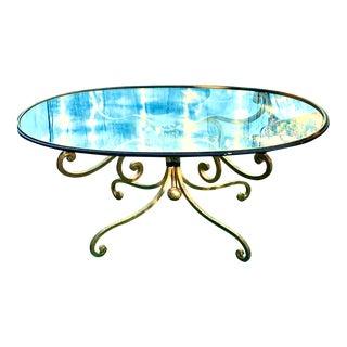 1950s Regency Glass Top Brass Base Coffee Table For Sale