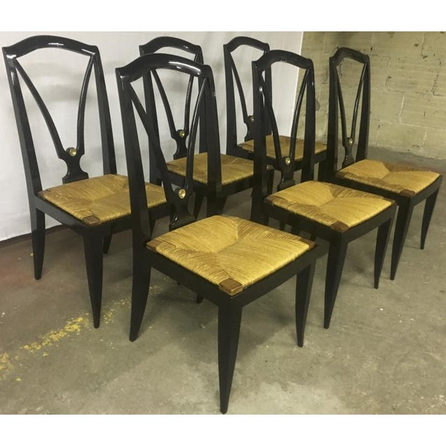 Rush Maison Jansen Refined Set of 6 Black Dinning Chairs With Rush Seat For Sale - Image 7 of 8