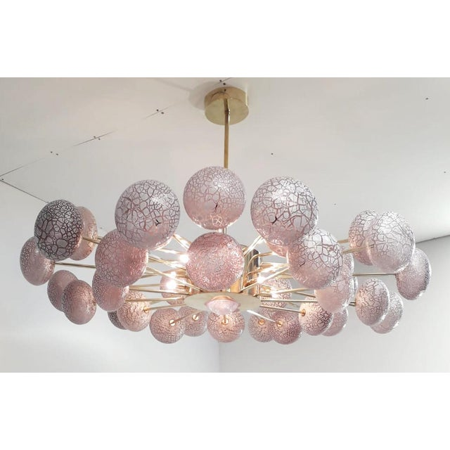 Fabio Ltd Crackled Globes Chandelier by Fabio Ltd For Sale - Image 4 of 9