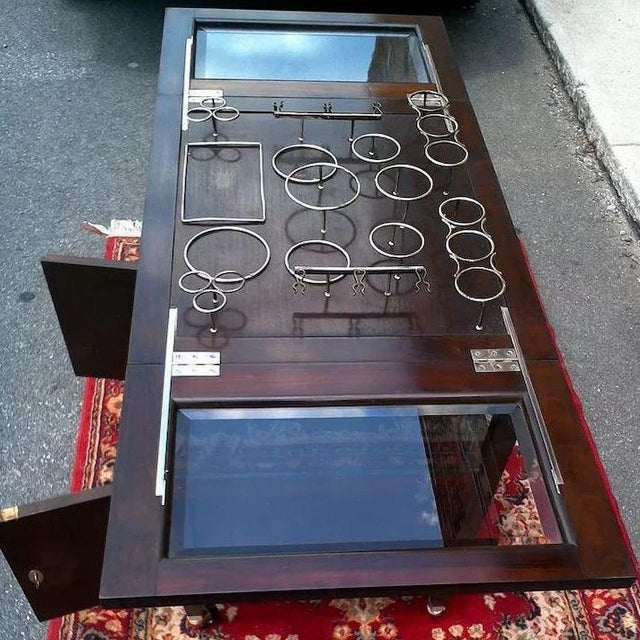 Vintage Bar Cart With Pop Up Center and Beveled Glass For Sale - Image 9 of 11