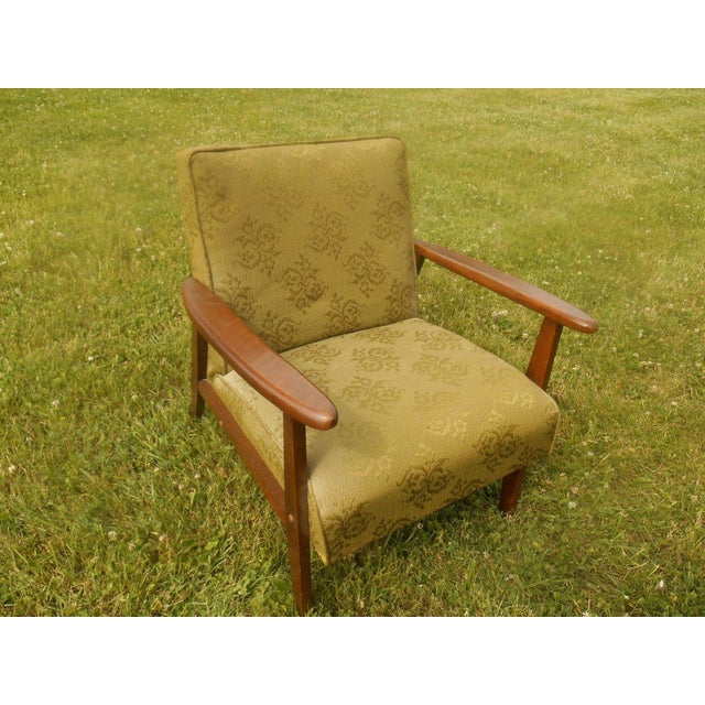 Danish Modern Olive Green Lounge Chair - Image 3 of 6