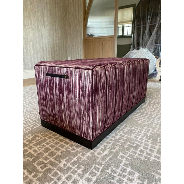 Featured in the 2020 San Francisco Decorator Showcase — Custom Maroon Dining Bench, Pair Available For Sale - Image 4 of 9