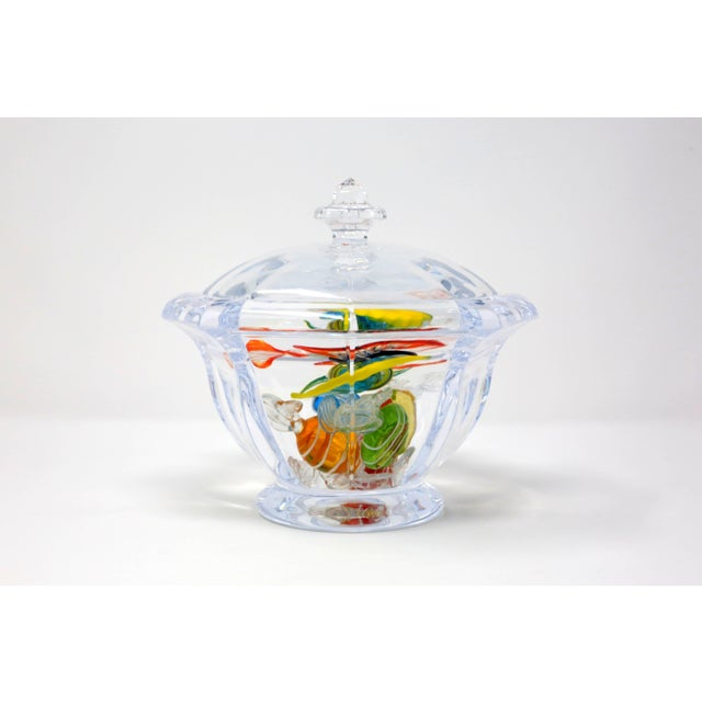 Transparent Octagonal Lucite Candy Bowl With Murano Glass Candy For Sale - Image 8 of 13