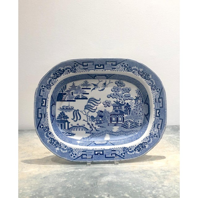 Early 19th Century Blue Willow Platter, England Circa 1800 For Sale - Image 5 of 5