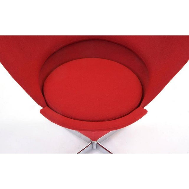 Red Vintage Original Verner Panton Cone Heart Chair for Plus-Linje For Sale - Image 8 of 9