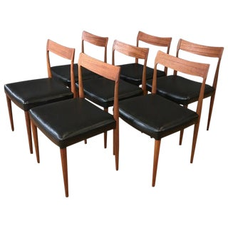Danish Teak Dining Chairs in the Style of Kristiansen or Møller, Set of Seven For Sale