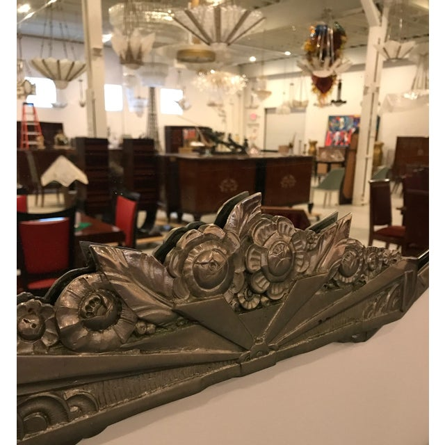 French Art Deco Geometric and Floral Wall Mirror With Skyscraper Motif For Sale In New York - Image 6 of 10