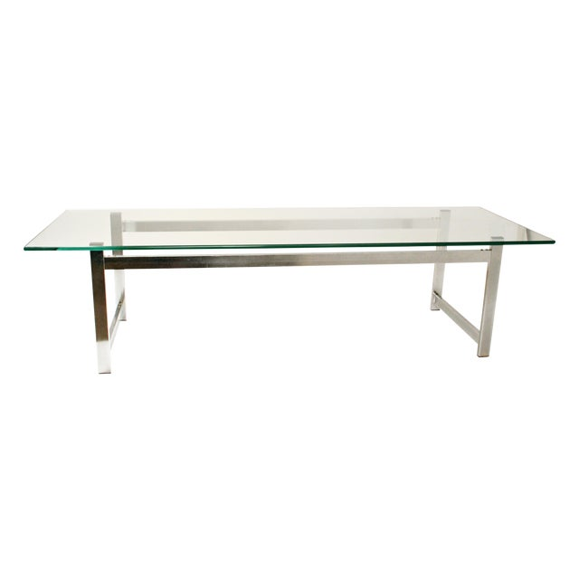 Mid-Century Modern Chrome & Glass Coffee Table - Image 1 of 11