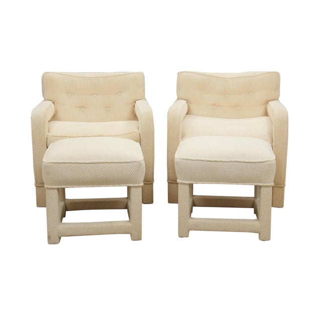 Milo Baughman Attributed Upholsted Armchairs and Ottomans, Set of 4 - Image 8 of 8