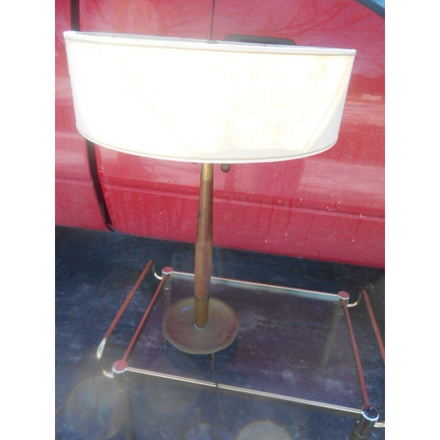 Brown Rare 1950's Gerald Thurston For Stiffel Mid-Century Modern Atomic Age Table Lamp For Sale - Image 8 of 10