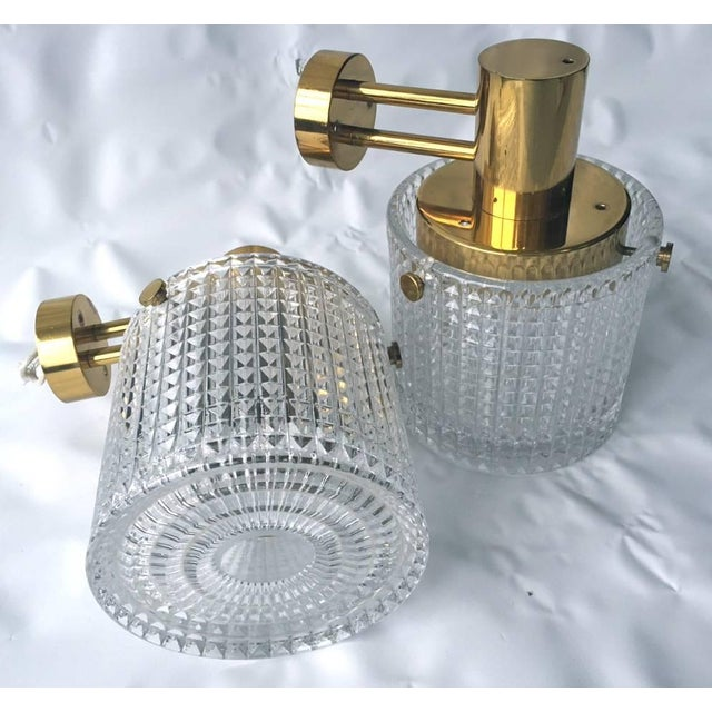 Mid-Century Modern Up or Down Mounted Wall Lights Orrefors Attributed - a Pair For Sale - Image 3 of 6