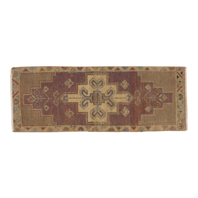 "Cotton Vintage Distressed Oushak Rug Mat Runner - 1'2"" X 3'1"" For Sale - Image 7 of 7"