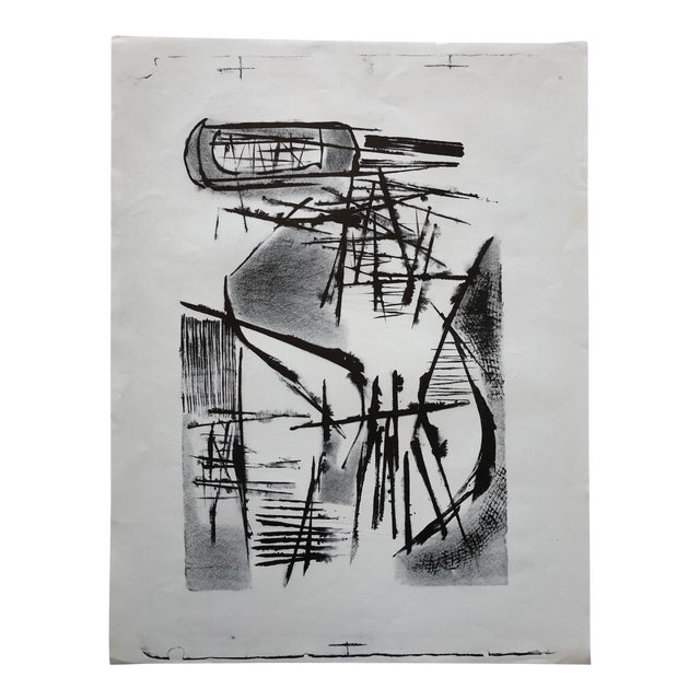 Jerry Opper Mid Century Abstract Stone Lithograph For Sale
