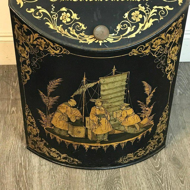 Pair of Antique Chinoiserie Tole Floor Model Tea Canisters by Henry Thoemner For Sale - Image 11 of 13